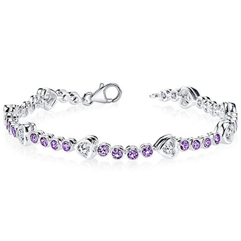 Amethyst Bracelet Sterling Silver Rhodium Nickel Finish 3.00 Carats CZ Accent