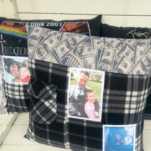 Memory Keepsake Pillow made from clothing with photos by Once Upon a Time Creation