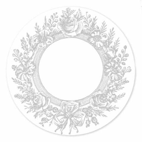 Romantic Grey Wreath Disposable Placemat (36)
