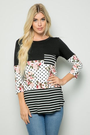 PLUS Size Striped and Polka Dot Floral Top