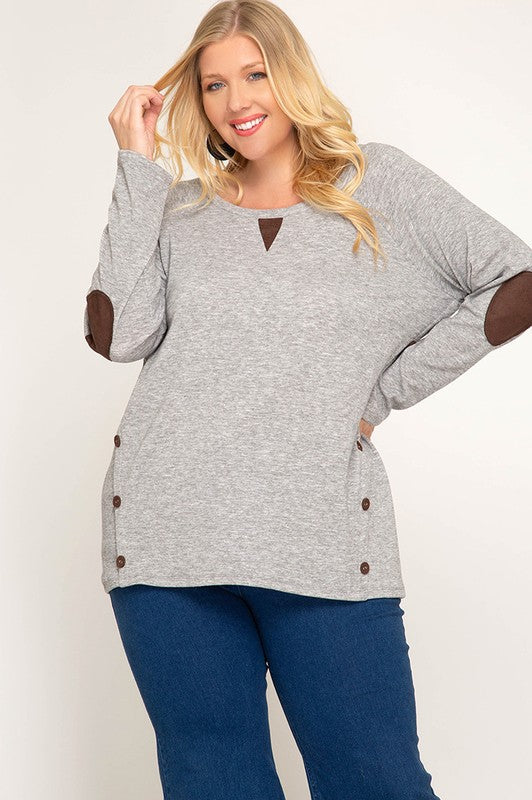 Long Sleeve Knit Terry Tunic Elbow Patch