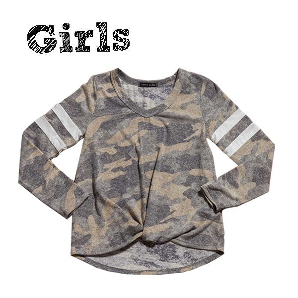 Girl's Camo Long Sleeve Varsity Top