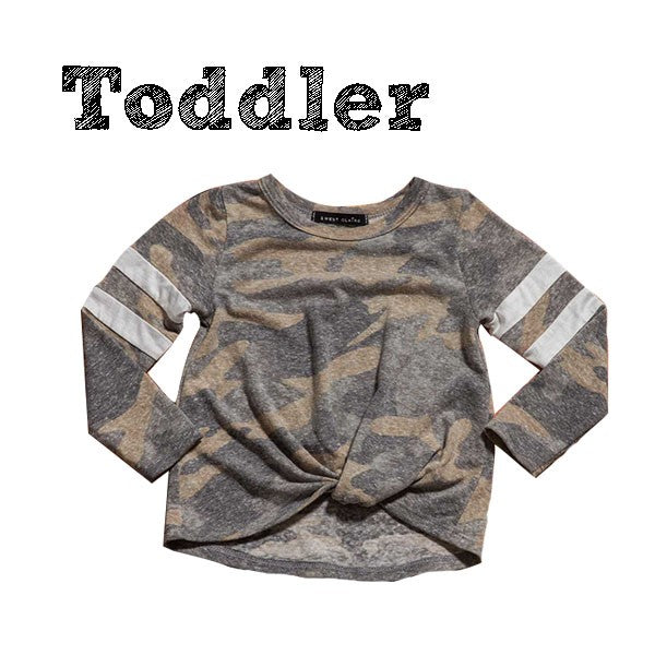 Girl's Toddler Camo Long Sleeve Varsity Top