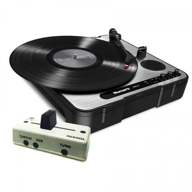 Numark PT01 USB Portable Turntable with Jesse Dean JDDX2R Fader in Hi Roller White