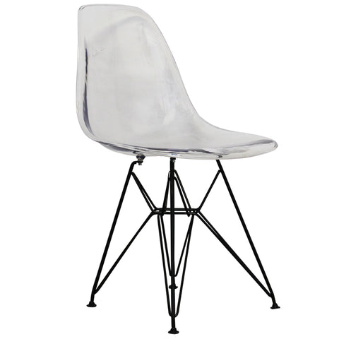CHARLES EAMES Style Clear Plastic Retro DSR Side Chair with Black Legs - directhomeliving