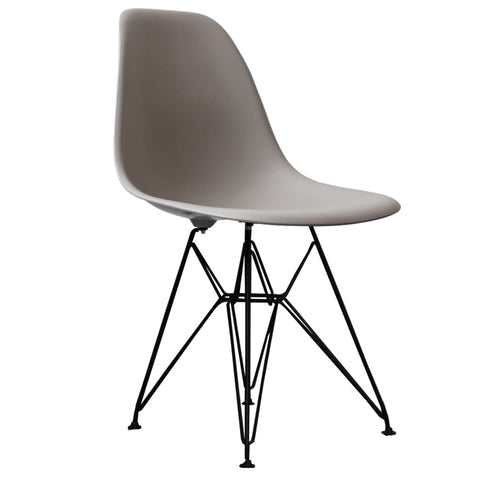 CHARLES EAMES Style Cool Grey Plastic Retro DSR Side Chair with Black Legs - directhomeliving