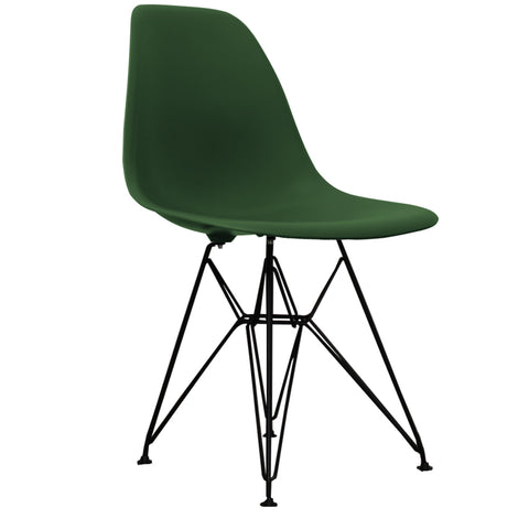 CHARLES EAMES Style Emerald Plastic Retro DSR Side Chair with Black Legs - directhomeliving