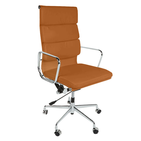 Eames Style EA219 High Back Padded Tan Leather Office Chair - directhomeliving
