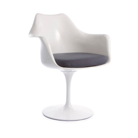 Tulip Arms Grey Seat White Chair - directhomeliving