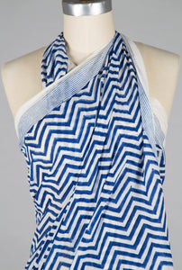 Sarong - Blue Chevron - 100% Cotton Voile