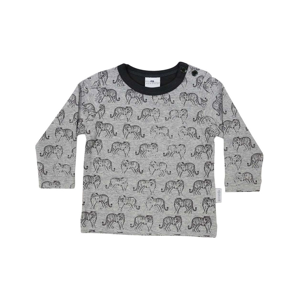 A1303G Tiger Long Sleeve Tiger Print Tee-Tops-Korango