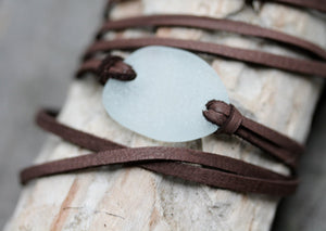 Sea Glass & Leather Wrap Bracelet or Necklace - Light Aqua/Seafoam - TheRubbishRevival