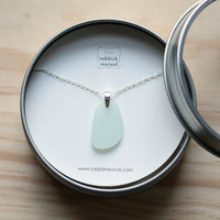 Sea Glass & Sterling Silver Necklace - Seafoam Pendant - TheRubbishRevival