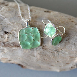 Sea Glass & Silver Mosaic Earrings - Green - TheRubbishRevival