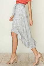 STRIPE HIGH-LOW RUFFLE SKIRT