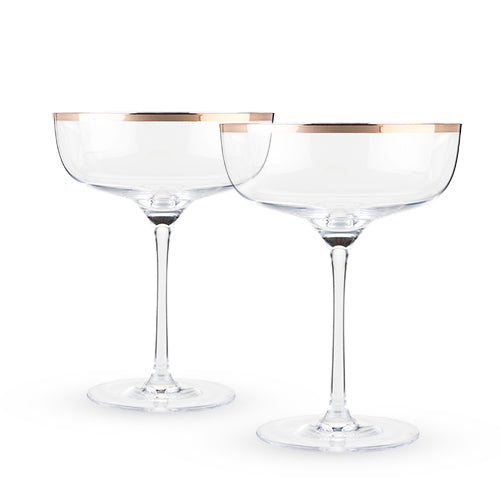 Copper Rim Crystal Coupe Set