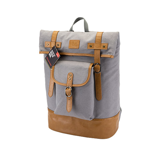Insulated Canvas Cooler Adventure Backpack in Grey