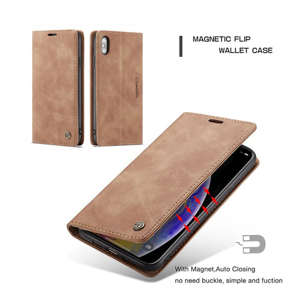 Luxury Leather Wallet Flip Case for iPhone X XR XS Max Case Cover