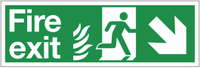 Dual-Symbol Fire Exit Sign with Right-Down Diagonal Arrow for NHS Buildings SSW0288