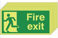 Six pack Glow in the dark Fire Exit Signs with man running left SSW0319