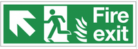 Dual-Symbol Fire Exit Sign with Left-Up Diagonal Arrow for NHS Buildings SSW0290