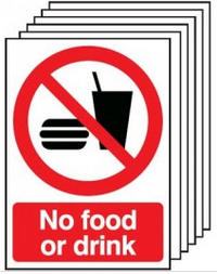 Six Pack No Food And Drink Warning Signs SSW0144