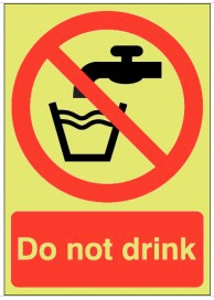 Do Not Drink Photoluminescent Signs SSW0117