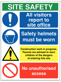 Building & construction site safety sign stating 'all visitors to report to site office' SW0036