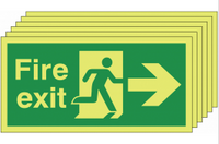 Glow In The Dark Fire Exit Signs (Right-Facing) SSW0318