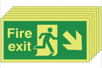 Pack of 6 Glow in the dark down and right man/arrow fire exit signs SSW0315