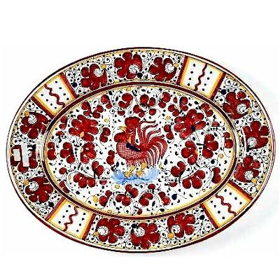 ORVIETO RED ROOSTER: Serving Oval Platter