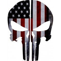 American Flag Punisher Skull Rear Helmet | Decal |Sticker | Vinyl
