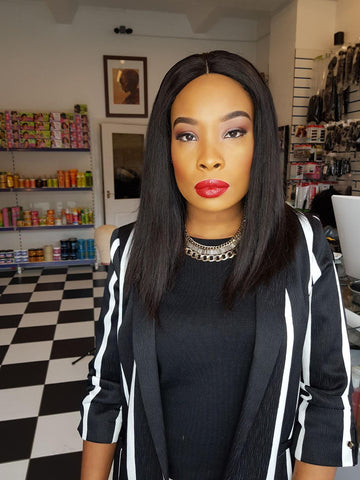 "Straight Double Drawn Human Hair Wig ""14 inches"""