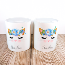 Personalised Kitty Money Pot | Blue Flowers