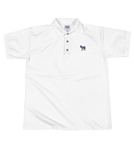 Blue Democratic Donkey Embroidered Polo Shirt