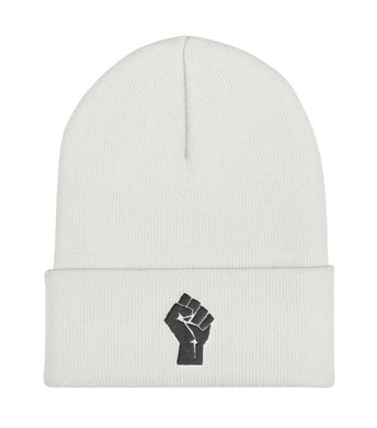 White/Black Resist Logo Beanie