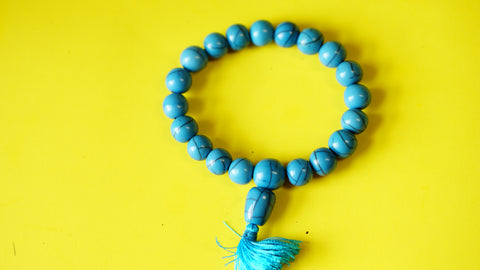 Stretchable Blue Stone with Silver Spacers wrist Mala.