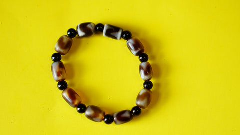 Stretchable Brown, Black and White Stone Wrist Mala.