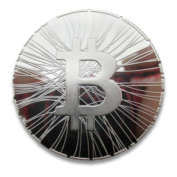 Lined Silver Bitcoin - General Crypto Store