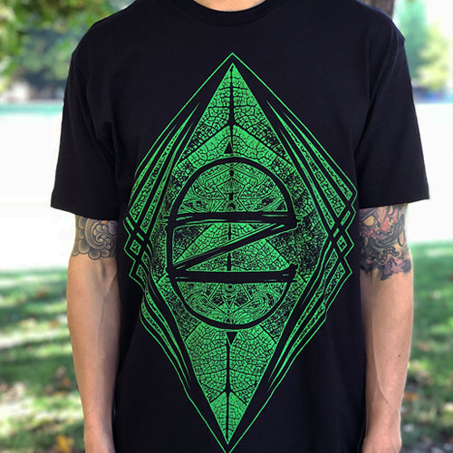 Men's Geometric CZ Leaf Shirt