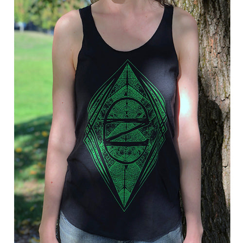 Women's Geometric CZ Leaf Tank