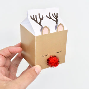 Reindeer Milk Carton Treat Box Digital File