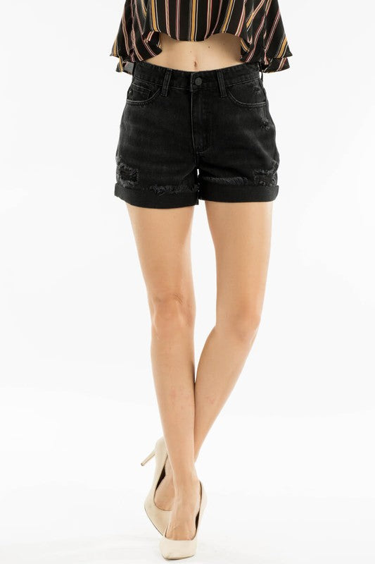 Kancan High Rise Black Distressed Shorts