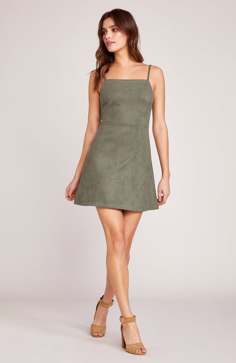 JACK BY BB DAKOTA FAIR & SQUARE SUEDE SCUBA DRESS
