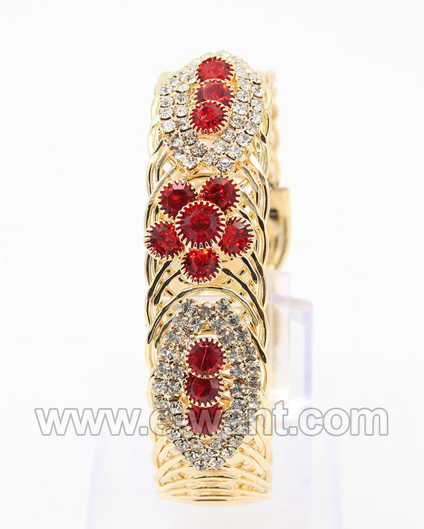 Crystal Stones and Red Flower Design