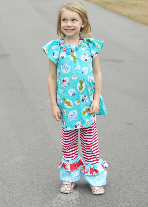 Suess Inspired Lizzy Ruffle Pants