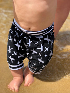 Black and White X's Harem Shorts