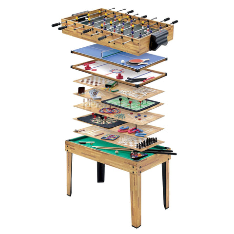 Mightymast 34-in-1 Oak Wood Multiplay Games Table