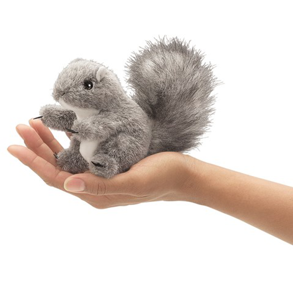 mini Gray Squirrel - Finger Puppet