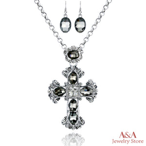 Fashion Neo-Gothic Cross Black Rhinestones Long Chain Necklace Antique Silver Plated Pendant Necklace With Earing